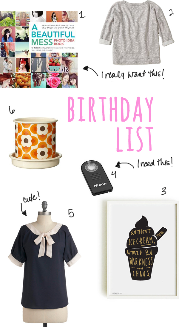 Kerry's birthday list | Burritos & Bubbly