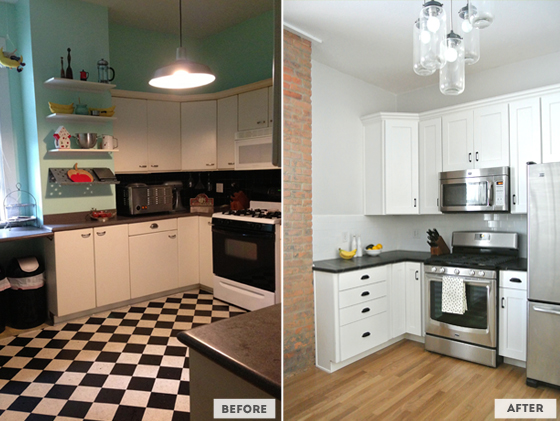 kitchen renovation before and after on BurritosandBubbly.com