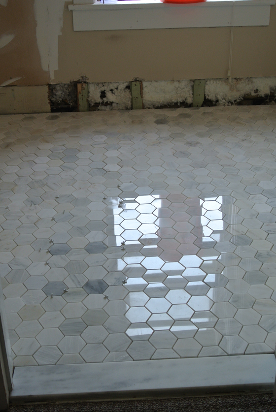 master bath tile, before grout | Burritos & Bubbly