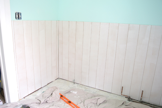 Plywood wainscoting | Burritos and Bubbly