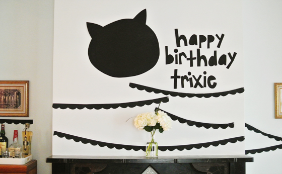 black + white cat-themed birthday party, Burritos & Bubbly