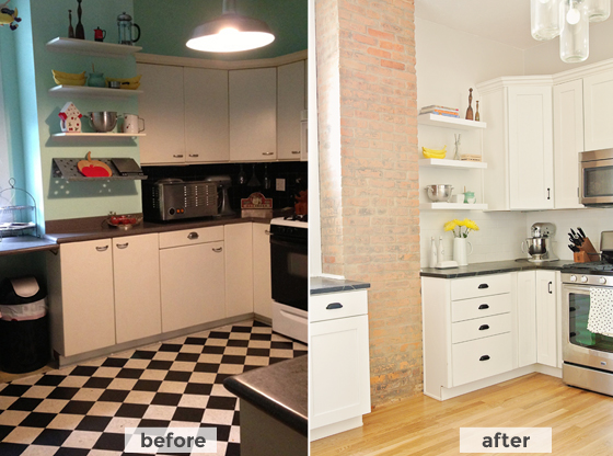 before and after kitchen renovation on Burritos & Bubbly!