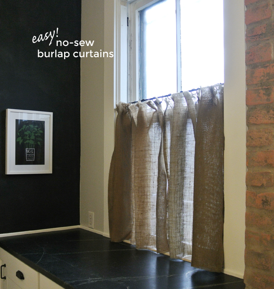 easy no-sew burlap curtains, BurritosandBubbly.com