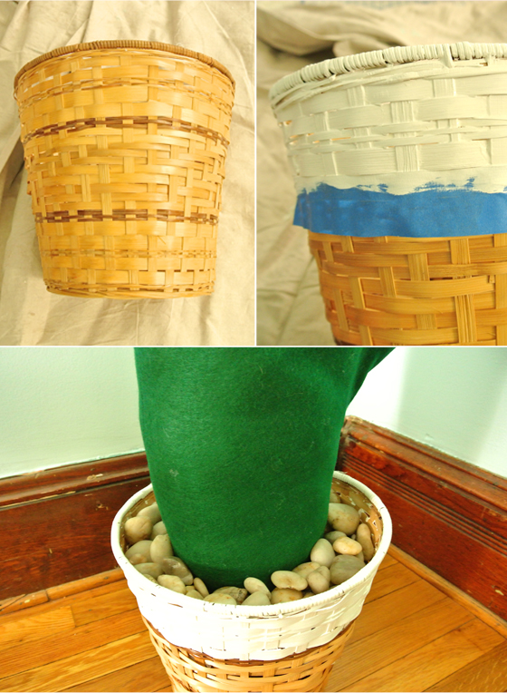 paint dipped basket for a giant fabric cactus, from Burritos and Bubbly