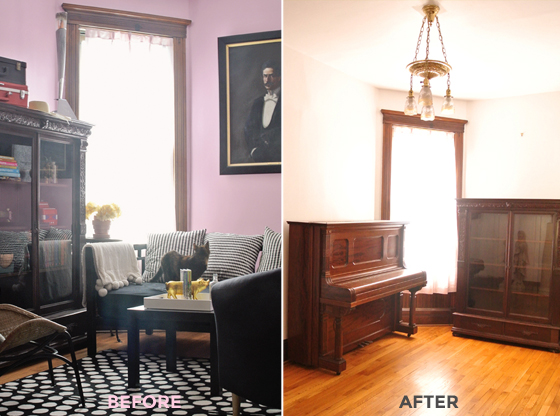 living room before and after, Burritos and Bubbly