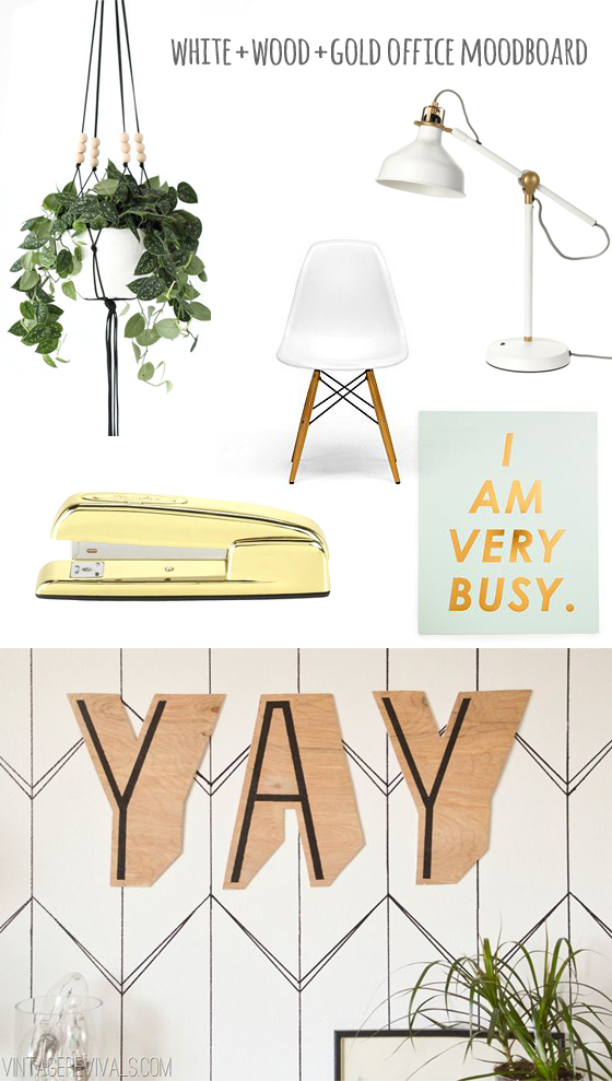 white+wood+gold office moodboard, Burritos and Bubbly