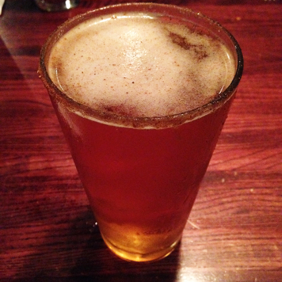 Ace Pumpkin Cider with a cinnamon sugar rim, so good.