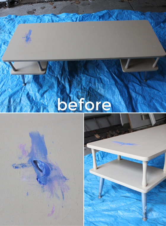midcentury coffee table makeover | Burritos and Bubbly