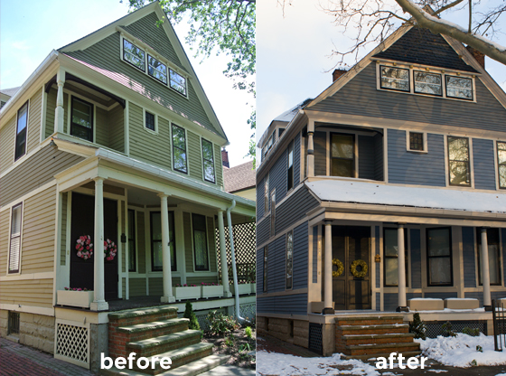 house exterior, before and after