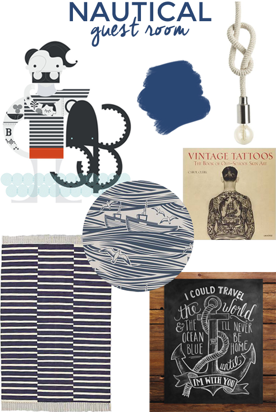 nautical guest room moodboard | Burritos and Bubbly