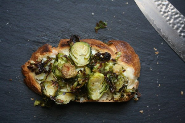 tried and true recipe: roasted brussels sprouts and gruyere toasts