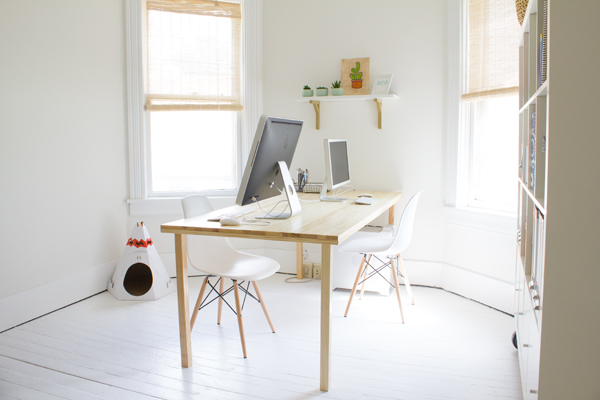 the big reveal: our white and wood home office!