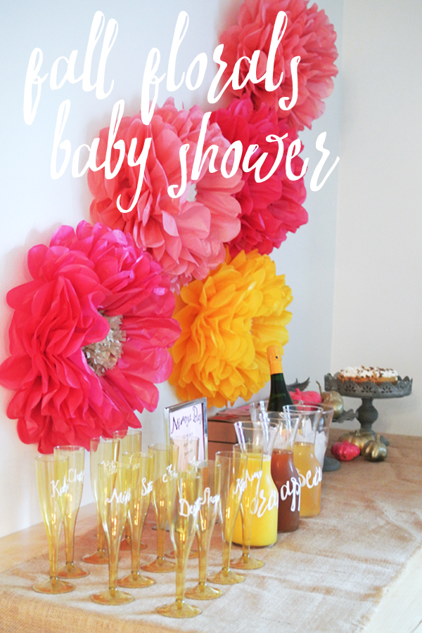 fall floral-themed baby shower | Burritos and Bubbly