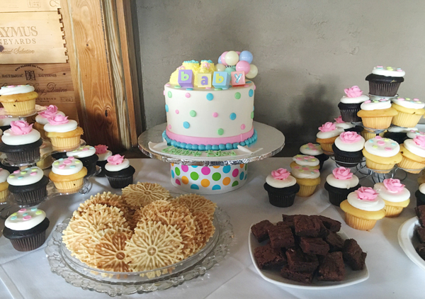 polka dot-themed baby shower
