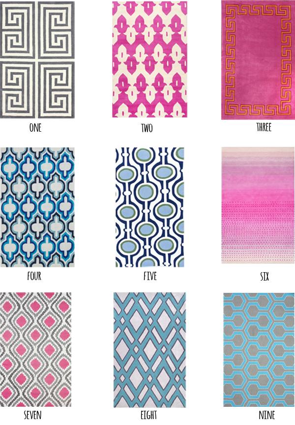 Fun, bold, colorful rugs