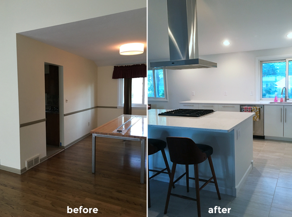 kitchen, before and after