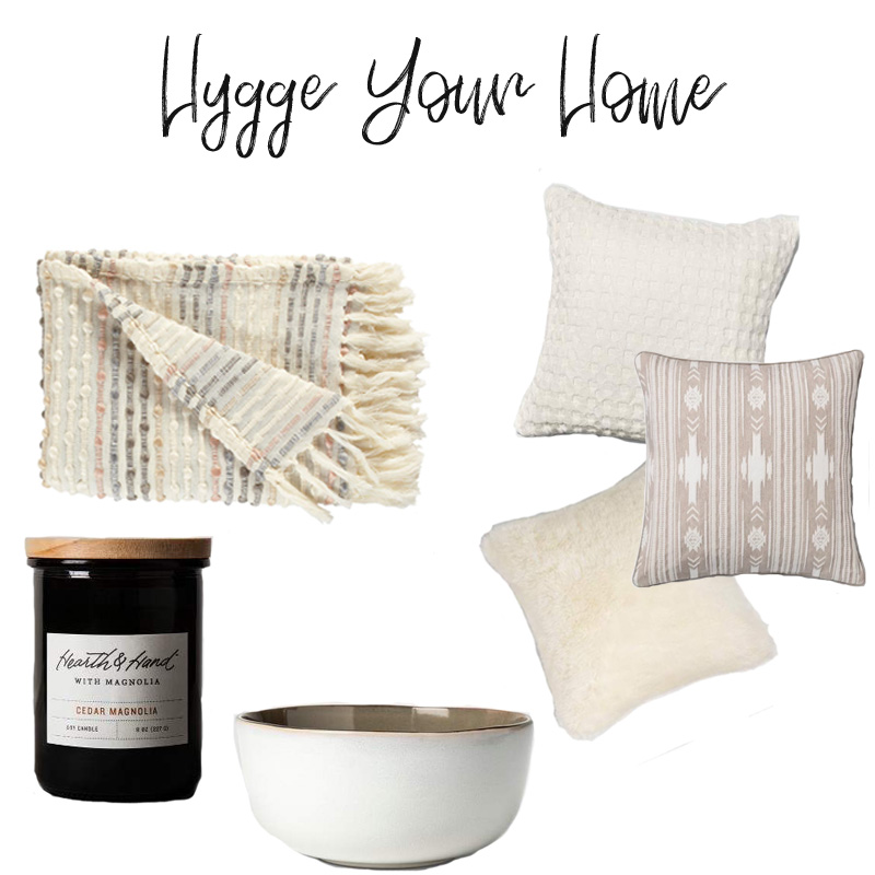 Some elements of a hygge home: throw pillows, blankets, candles, and serving pieces
