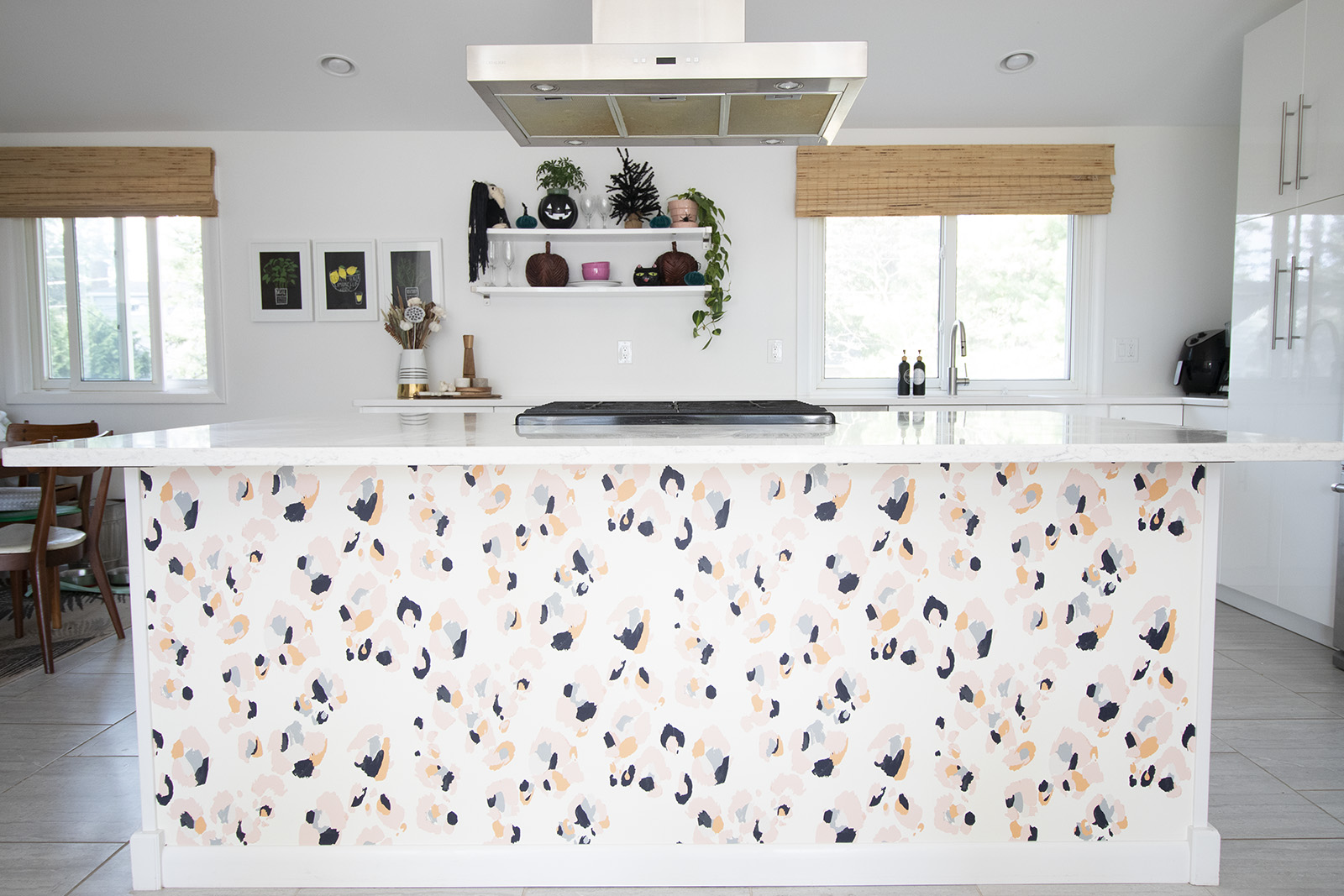 Wallpapering Our Kitchen Island Burritos And Bubbly